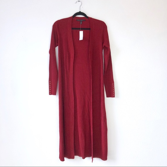 f84a67de663 WHBM • Cranberry Ribbed Duster Cardigan Sweater